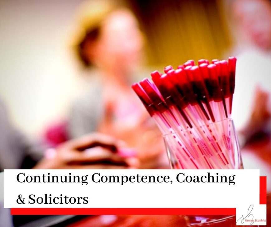 Blurred image focusing on a pot of pens with people in the background with title Continuing Competence, Coaching & Solicitors