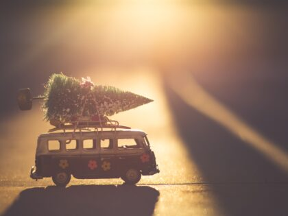 Christmas - model van with a Christmas tree