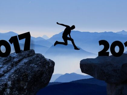 Man jumping towards 2018