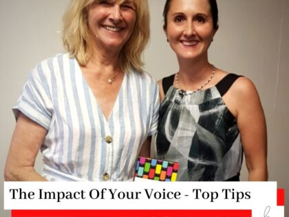 Simona Hamblet and Judy Apps photos with a title The Impact Of Voice - Top Tips