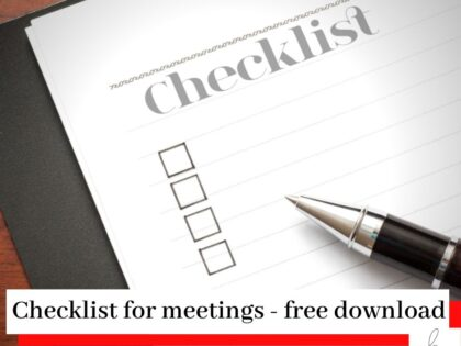 Checklist and pen for meetings