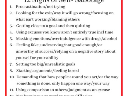 Self-Sabotage List