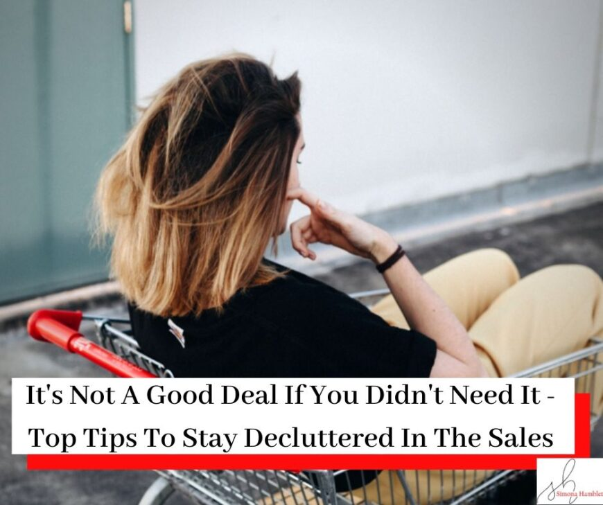 Woman in shopping trolley with title : Top Tips For Staying Decluttered In The Sales