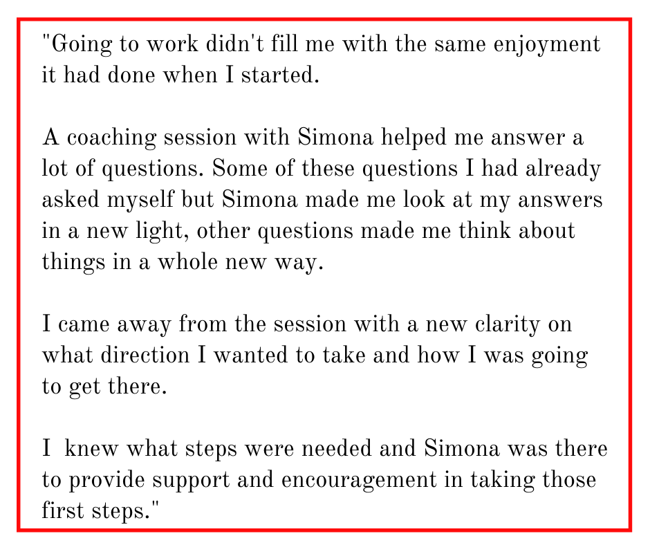 Career Coaching Testimonial for Simona Hamblet